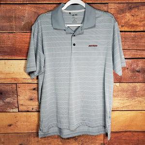 Adidas Golf Shirt Size M | ClimaLite Grey Striped